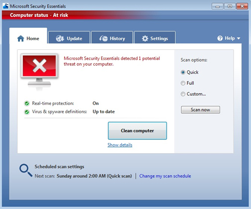 A red icon means that your computer is at risk and that you must address a high- or severe-level threat to protect it.